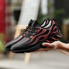 Brand Men Casual Shoes Light Soft Shoes Mens Trainers Breathable Shoes Leisure Zapatillas Deportivas Hombre Footwear Red Blue