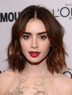 Lily Collins | 24 Celebrity Bobs That Will Make You Wish You Had Shorter Hair How to apply makeup correctly, info here: http://crazymakeupideas.com/12-nail-art-ideas-for-your-toes/