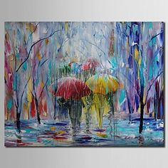 Hand Painted Oil Painting Landscape Shadows in The Rain with Stretched Frame – USD $ 112.99