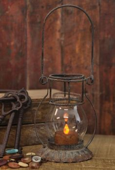 lantern, key and buttons