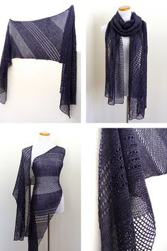 Rectangle Shine shawl with Lanitium ex Machina Silky Merino Fingering in colorway Twilight Zone.