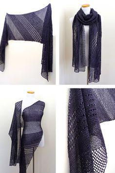Rectangle Shine shawl with Lanitium ex Machina Silky Merino Fingering in colorway Twilight Zone.