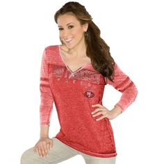 Touch by Alyssa Milano San Francisco 49ers Women's Gridiron Tri-Blend Long Sleeve V-Neck T-Shirt - Scarlet