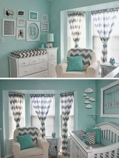 Maybe Too Many Chevrons For Me But I Sure Do Love The Colors Behr Grey Chevron Nurserynursery