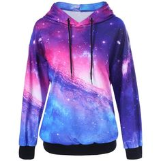 Drop Shoulder Galaxy Hoodie ($19) ❤ liked on Polyvore featuring tops, hoodies, jackets, sweatshirts, outerwear, hooded pullover, hoodie shirt, sweatshirt hoodies, blue shirt and blue hoodies