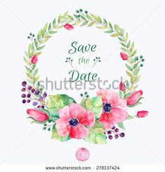 Vector flowers set. Colorful floral collection with leaves and flowers, drawing watercolor. Spring or summer design for invitation, wedding or greeting cards. Floral wreath for your own combinations