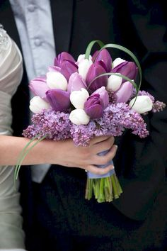 Tulips As Wedding Flowers Tulips And Lilacs Bridal Bouquet regarding Tulip Wedding Bouquets - Wedding Party Ideas Tulip Bridal Bouquet, Tulip Wedding, Purple Wedding Bouquets, Bride Bouquets, Bridal Flowers, Flower Bouquet Wedding, Spring Wedding, Wedding Colors, Lilac Bouquet
