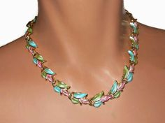 CIJ sale 25% off now plus FREE shipping! No coupons needed! Enamel choker, pink, green and blue antiqued enamel leaves, has Monet dangle, unsigned necklace, pastel. This is one of the prettiest necklaces I've seen in a long time.   ... #etsygifts #vintage #vjse2 #jewelry #gift