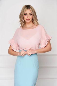 Bluza dama StarShinerS roz prafuit office din material subtire cu croi si maneci largi Cold Shoulder Dress, Casual, Dresses, Fashion, Vestidos, Moda, Fashion Styles, Dress, Fashion Illustrations