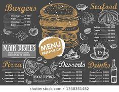 Images, photos et images vectorielles de stock similaires de Restaurant Food Menu Design Chalkboard Background - 196454786 similaires | Shutterstock Dessert Drinks, Desserts, Menu Design, Menu Restaurant, Images, Main Dishes, Seafood, Photos, Chalkboard