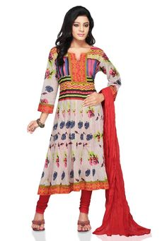 White and multicolor cotton readymade anarkali suit