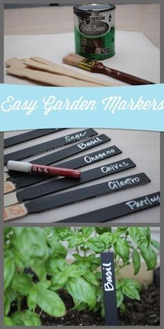 Awesome Pins from Others Chalkboard paint garden markers. Easy project for your spring garden. www. Container Gardening, Gardening Tips, Organic Gardening, Vegetable Gardening, Vegetable Garden Markers, Herb Markers, Succulent Containers, Container Plants, Garden Plant Markers