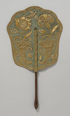 Fixed Fan, England, c.1740. straw embroidery on green silk with wooden handle. 16 x 8 3/4 in. (40.7 x 22.3 cm)