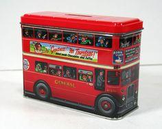 Vintage British Tin Bank - London Double-Decker Red Bus, Silver Crane Company