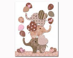 Baby girl room pink brown wall decor 65 ideas for 2019 Kids Artwork, Kids Room Art, Brown Wall Decor, Tattoo For Baby Girl, Elephant Nursery Art, Girls Room Wall Decor, Baby Prints, Pink Brown, Baby Decor