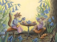 Chipmunk Tea Party by Red-Clover