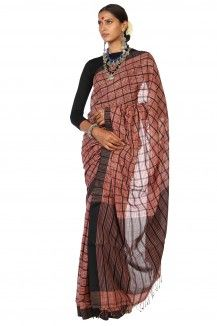 Black Striped Cotton Saree
