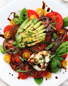 Summer Tomato Salad with avocado, mozzarella and balsamic