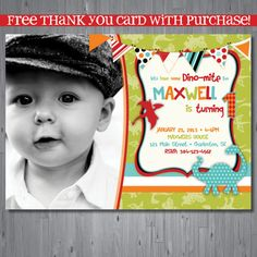 dinosaur Birthday Invitation, first birthday party invitation, dinosaur party, party invitation printable, FREE thank you card