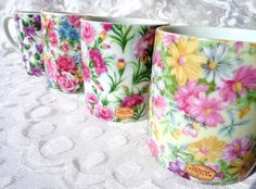 Vintage Chintz Porcelain Mug Japan 4 Flowered Mugs - GreenleeAndVine on etsy /  #epsteam