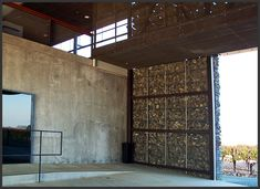 Dominus Winery // entry at steel + gabion wall