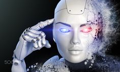 Thinking cyborg - Cyborgs head shattered into a dust. 3D illustration