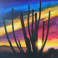 DESERT CACTUS SUNSET - Featured in this painting is a beautiful Arizona skyscape at sunset featuring a bold a graphic cactus silhouette. Vivid