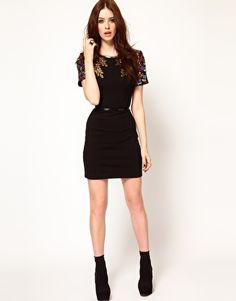 Lashes Of London Body-Conscious Dress with Embellished Shoulder