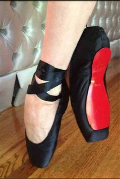 Custom Louboutin pointe shoes for Dita Von Teese
