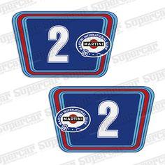 Martini Le Mans Vintage Racing Large Blue Bkgd Number Plate Decals