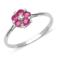 Blüten-Ring Rubine und Diamanten 0,567 ct gesamt DR0042 http://www.thejewellershop.com/ #diamond #diamantring #blüte #ring #rubin #weißgold #ringe #diamanten #schmuck #jewelry