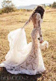 Fishtail - Mermaid, Long Sleeves - With Sleeves, Lace and Backless wedding dress Wedding Dress 2303