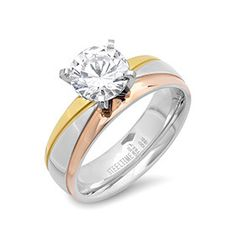 Tricolor gold and diamond ring