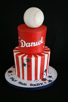 Baseball Baby Shower Cake. Looks like real Bball on top. 4 inch, 6 inch cakes