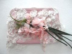 Lace and Pink Flower Decorated Clutch Purse by RosesForClementine, $51.00