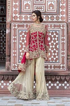 Red Rose Sharara - Meerats.com Customized Pakistani Dresses, Made to Order, Affordable dresses, Pakistani Formal/Pret Wear, Embroidered Handwork Dress. Visit www.Meerats.com to place an order