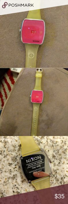 """Nixon Iris bright pink watch Nixon """"The Iris"""" pink dial watch w/ rubber wrist band. - band is a little yellow from being stored away. - never worn but needs new battery <3 Nixon Accessories Watches"""