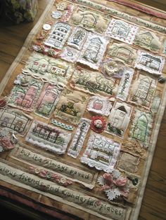 idea for themed wall hanging - collage style - include quote / poem - love the frayed edges and sewn bits
