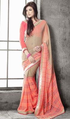 You are sure to make a effective fashion statement with this beige and tomato shade georgette printed saree. This beautiful saree is showing some incredible embroidery done with checkered decorative printed and lace work. #NewDesignCasualSaree