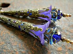 Purple Elven Wand Earrings, Victorian Style, Royal Blue & Violet, Dramatic, Faery Couture, Elksong Jewelry, $28.00