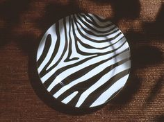Jungle collection, safari, Zebra black and white charger, large plate.Dinnerware, porcelain, Limoges, jungle, Africa, hand made,FRAGILE by Patricia Deroubaix
