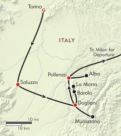 The Kingdom of Truffles and Barolo route-map