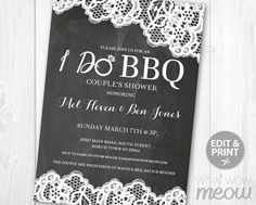I Do BBQ Invitation Couples Shower Engagement Party By Wowwowmeow Bbq