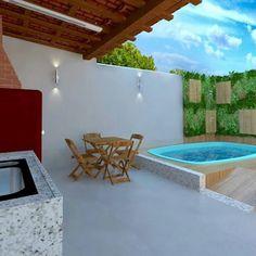 My Fav 💟Minha picina 🤔😀 Pools For Small Yards, Small Swimming Pools, Small Backyard Pools, Swimming Pools Backyard, Backyard Patio, Small Pool Design, Hot Tub Garden, Flagstone Patio, Pool Designs
