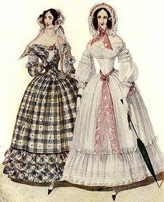 DAY DRESS Fashion Plate from Wiener Zeitschrift, July 1840