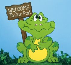 "Ribbit Welcome Sign Woodcraft Pattern This frog with a sign that says, ""Welcome To Our Pad"" is perfect for landscaped areas approaching your front porch/door. #diy #woodcraftpatterns"