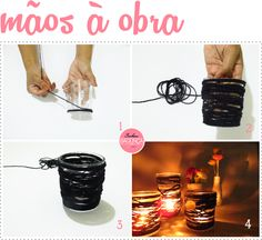 DIY - PORTA VELAS COM BARBANTE E COPO DE VIDRO | SENHORA BAGUNÇA DIY