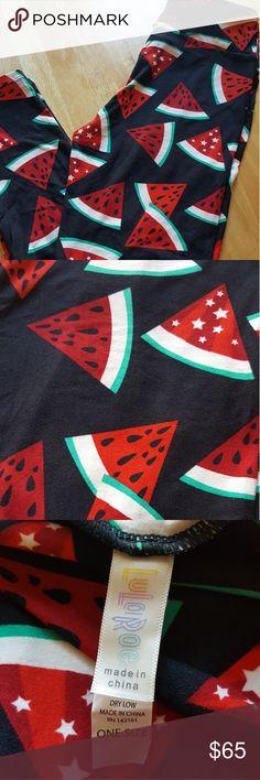 Lularoe OS Watermelon leggings! Black background! Hard to find and so adorable! Brand new, never worn. LuLaRoe Pants Leggings