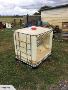 Hay rack made from used Ibc's Perfect for Calves, goats and sheep. Hay Feeder For Horses, Horse Feeder, Sheep Feeders, Goat Hay Feeder, Pig Shelter, Keeping Goats, Diy Chicken Coop Plans, Goat Care, Boer Goats