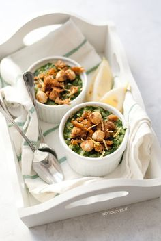 Spinach and lemon Risotto with crispy tuna and hazelnuts.